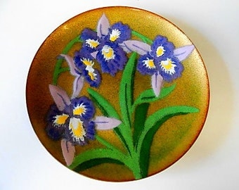 Midcentury Annemarie Davidson Enamel on Copper Dish, Tray, Irises, Blue, Green, Gold