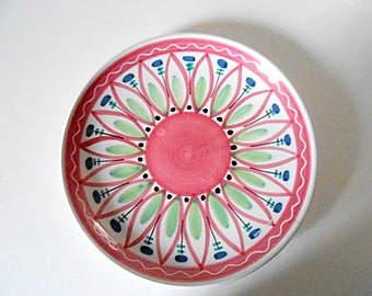 Midcentury Elle Norway Handpainted Ceramic Plate, Flower, Pink, Blue, Green