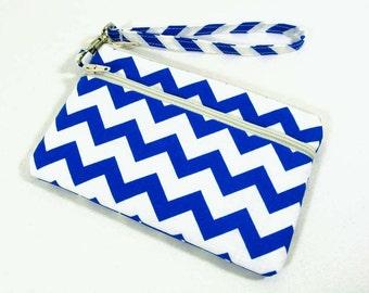 Royal blue chevron id holder, large id wristlet, coin purse, blue cell phone purse, iPhone 5 purse