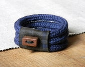 Wool bracelet - wood bracelet - Plaid cuff - Gift for him - Gift for her -  Blue, charcoal grey, grey.