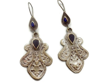 Boho Earrings, Vintage Earrings, Silver, Kuchi Gypsy, Blue Lapis, Black Onyx, Afghan Jewelry, Bohemian, Statement, Belly Dance, Composite