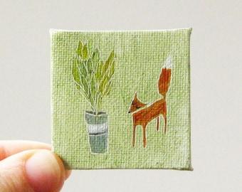 greenery / MINIATURE painting on canvas panel