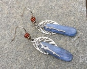 Slate Blue Kyanite And Silver Earrings With Brick Red Accent Beads And Silver Filigree Leaves, Kyanite Earrings, Silver Earrings, Layered