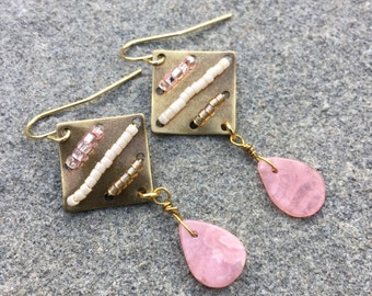 Antique Gold And Rhodonite Earrings With Pink, Taupe And cream Seed Bead Design, Antique Gold Earrings, Gemstone Earrings