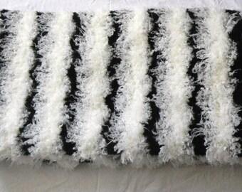 Throw Black/Off White Mongolian Wool  MARK DOWN SALE