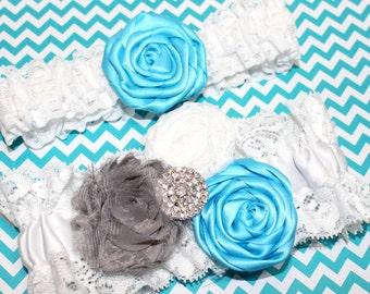 Lace Wedding Garter, Turquoise and Gray Wedding,  White Lace Garter, Bridal Garter Set, Shabby Flowers, Rosette, Custom garter, Custom Size