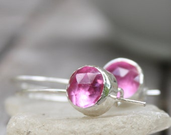 Pink Sapphire Earrings - Sterling Silver - Handmade - Pink Earrings