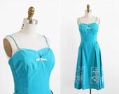 vintage 1950s dress / 50s dress / Shaheen Hawaiian Turquoise Cotton Sun Dress