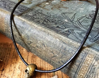 Brass Skull Mixed Metal Leather Necklace with Copper Saftey Pin Clasp