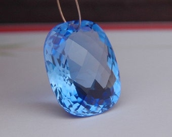Blue Topaz Checker Faceted Fancy Cut