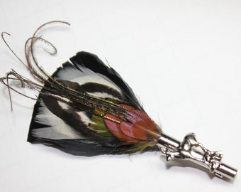 "Feather Lapel Pin, Boutonniere, Hat Pin Brooch ""Ode to the Movie Stars 4"" black, green, and white with silver toned pin base"