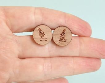 Microscope Circle Earrings Laser Cut Wood Science Jewellery Lab Jewelry Biology Anatomy Cells