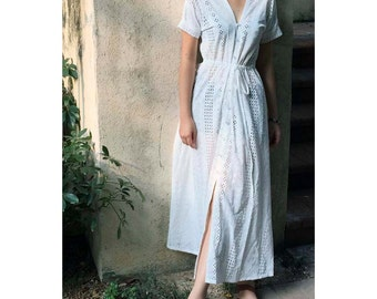 cotton embroidery lace maxi shirt dress short sleeves cardigan