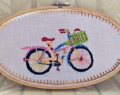 "Yarn-Bombed Bike  - Hand Embroidered Hoop Art 5"" x 9"""
