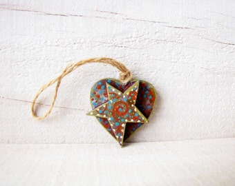 Heart Star Ornament Hand painted Heart Wall Hanging Swirl Dot Red White handmade One of a Kind Mixed Media Ornament # 23