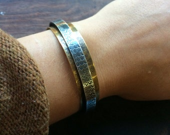 Sterling Silver and Brass Cuff Bracelet