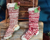 Hand hooked ornaments primitive skinny christmas stockings set of two grungy old fashioned stockings vintage style