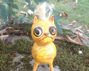 Folk art Cat doll-paper mache kitty cat tabby cat