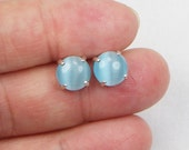 Aquamarine Cat Eye Earrings - 8MM - Glass Stones - Gift For Her - Cabochon Earrings - Stud - Sterling Setting