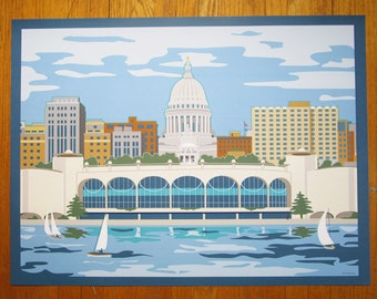 "Madison, Wisconsin Skyline, 24 x18"" poster"