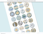 Beach Ocean Nautical Digital Collage Sheet 18mm 16mm 14mm 12mm Circle Round on 4x6 8.5x11 Sheets for Earrings Pendants Cuff Links Image