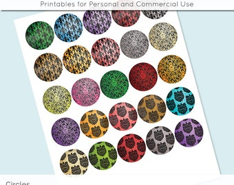 "Damask 1 inch 1.25"" and 1.5"" Circles Digital Collage Sheet for Glass and Resin Pendants Bottle Caps Digital Download JPG"