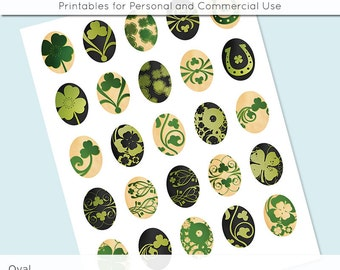 Oval Digital Collage Sheet St Patrick's Shamrock 30x40 22x30 18x25 13x18 Oval Digital Collage Image for Glass and Resin Pendants Cameos