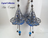 Earrings . Jewelry . Swarovski Crystal . Gunmetal . Filigree . Lucite Flower . Blue Ruffled Calla Lily Trumpet . Dangle Drop . Gift for Her