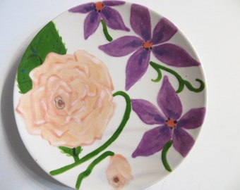 Dessert Plate, hand painted floral, Peach Roses, Purple flowers, earthenware pottery