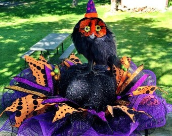 SALE - Witchy Owl on a Pumpkin and Spiders - Fall Halloween Centerpiece