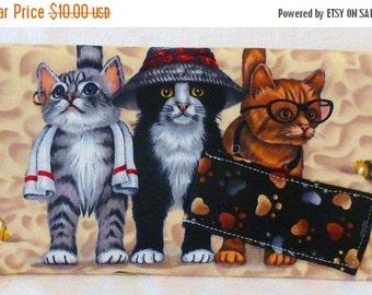 ON SALE - Beach Kittens Cats  - Check Book Cover, Pen Holder, CheckBook Case, Check Book, Register Holder