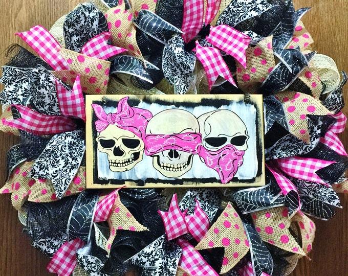 FREE SHIPPING Skulls Pink Hear No Evil, See No Evil, Speak No Evil - Welcome Door Wreath
