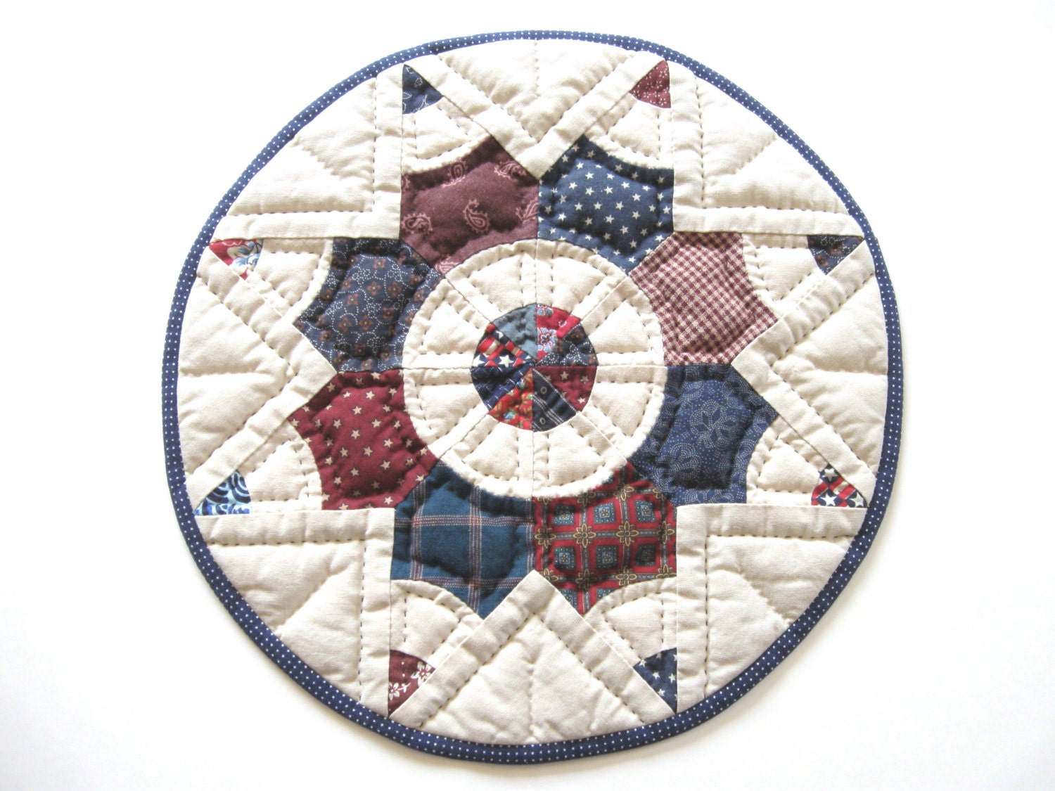 Rustic home decor patriotic decor quilted table topper quilted for Patriotic home decorations