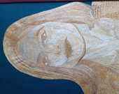Hollywood star Jody Foster portrait handmade with rice leaves Thousands of tiny pieces of rice straw used Hollywood Movie star in leaf art