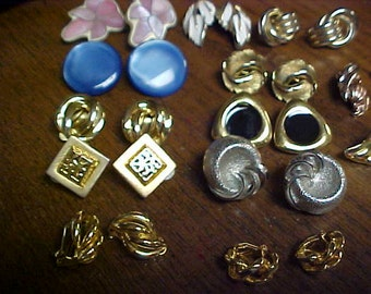 Vintage clip on ear rings 13 pairs- different styles-  10.00 for all