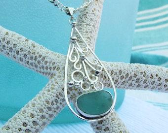Sea Glass Pendant, Aqua Beach Glass Necklace, Beach Necklace, Summer Necklace