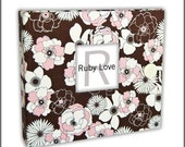 Pink & Brown Peony Baby Book - Ruby Love Modern Baby Memory Book