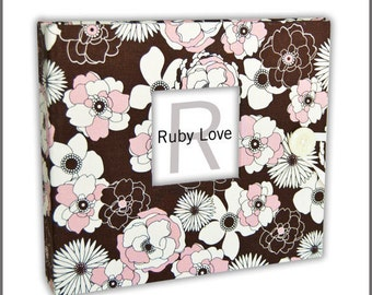 BABY BOOK | Pink & Brown Peony Baby Book - Ruby Love Modern Baby Memory Book