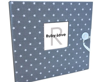 BABY BOOK | Mini Gray Star Baby Book | Ruby Love Modern Baby Memory Book