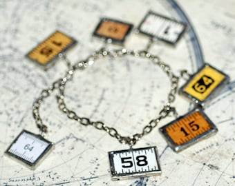 charm bracelet made out of vintage ruler, bracelet numbers, jewelry, accessories, coolvintage, gorgeous, looks great, unique, 2018