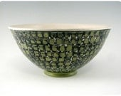 Etched Porcelain Bowl With Square Pattern