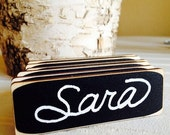 On SALE- 6 Rectangle Chalkboard Name Tags, Chalkboard Name Badges, Reusable Name Tags,--Perfect for Office Parties, Meeting, and Corporate E