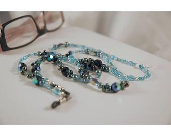 Blue Heaven Lanyard, Aurora Borealis, Czech Glass, Name Tag, Reading Glasses, Pearl, Mixed Blues
