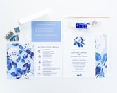 Navy Watercolor Floral Wedding Invitation Collection, Navy and White Blooms, Botanical Invitation, Wedding Announcement