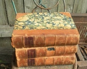 Three Leather bound and marbelized Vintage Dickens