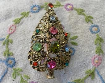 Vintage Rhinestone Christmas Tree Brooch/ Pin Signed Doddz
