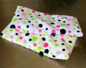 "Reusable Cold Pack pair, 3""x7"" in Pink and Lime Dot minky ~ by Talulah Bean"