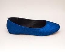 Glitter   Sapphire Blue Ballet Flat Slipper Custom Shoes