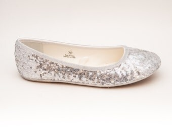 Sequin | Starlight Tiny Sequins Sterling Silver Ballet Flat Slippers Dress Casual Shoes