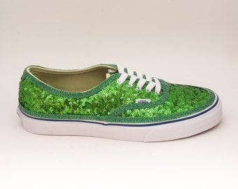 Tiny Sequin | Starlight Shamrock Green Authentic Vans Canvas Classics Sneakers Shoes